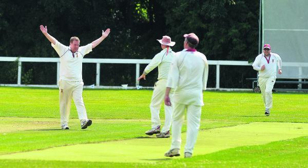 This Is Wiltshire: Nationwide House's Mark Norris celebrates a wicket against Great Bedwyn last weekend