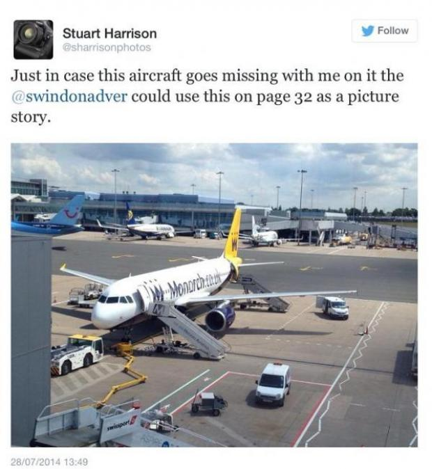 This Is Wiltshire: Adver picture editor Stuart Harrison posted this tweet before his plane had to make an emergency landing