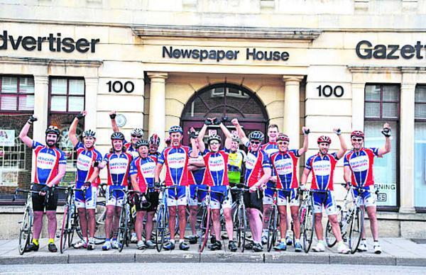 This Is Wiltshire: Swindon Wheelers setting off from the Advertiser office for their 160km bike ride to the Severn Bridge for the 160 Appeal