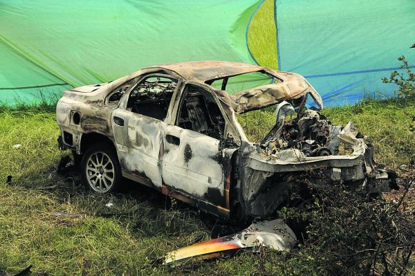 This Is Wiltshire: The car in which the three men died. Picture by Trevor Porter