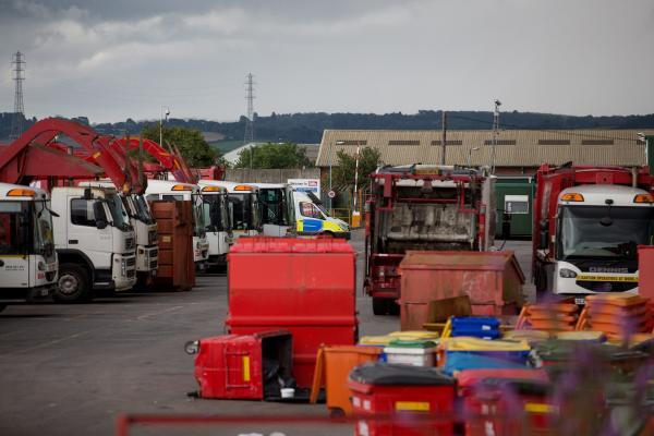 This Is Wiltshire: Police on the scene at the Biffa depot in Avonmouth
