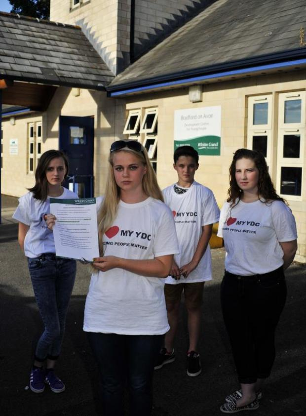 This Is Wiltshire: Bradford on Avon Youth Centre users, from left: Jodie Styles (16) Cherry Riley (17), Luke Pronick (12) and Alysha Green (16) unhappy their centre is to be closed