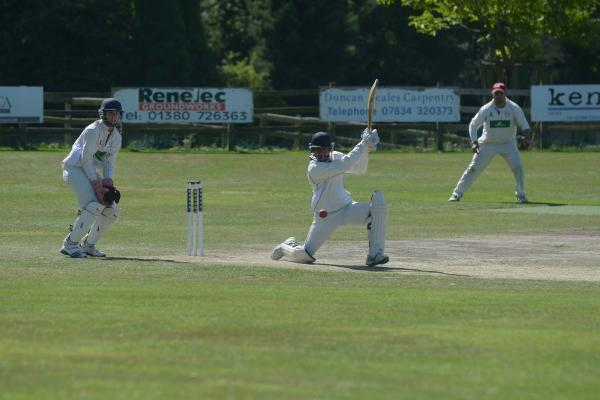 This Is Wiltshire: Potterne's Luke De Souza (middle) hit 64 for the villagers last weekend
