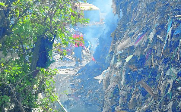 This Is Wiltshire: Firefighters' efforts to extinguish the blaze at Averies Recycling have been hampered by the sheer volume of waste at the site
