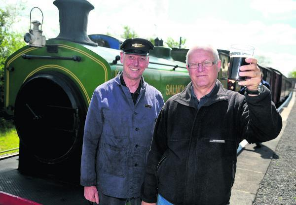 This Is Wiltshire: Jim Croton and Tony Norris at last year's Swindon and Cricklade Railway Real Ale and Cider Festival