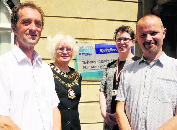 This Is Wiltshire: Mike Pringle, organiser and historian, Teresa Page, mayor, Sophie Cummins and Mark Sutton at the launch. Pictures: Vicky Scipio