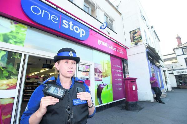 This Is Wiltshire: PCSO Claire Hannam at the One Stop, where beggars demand cash