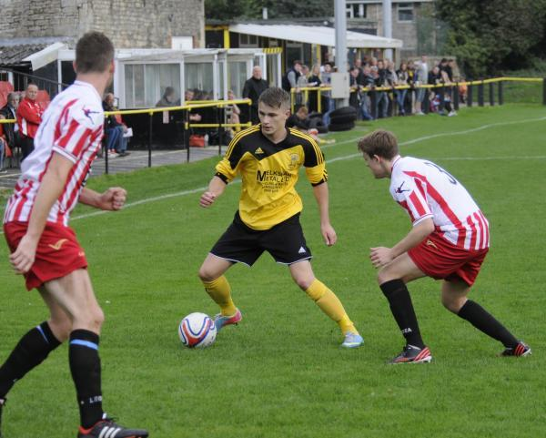This Is Wiltshire: Martin Johnson, pictured playing for Melksham Town last season, is one of Chippenham Park's summer signings