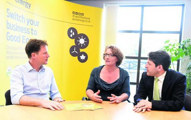 This Is Wiltshire: Deputy Prime Minister Nick Clegg, Juliet Davenport, Good Energy's founder and chief executive, and Chippenham Lib Dem MP Duncan Hames