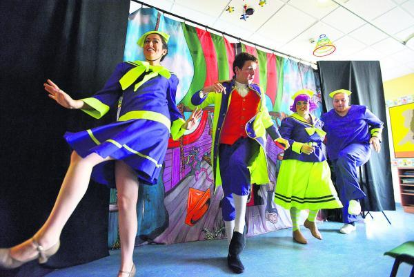 This Is Wiltshire: Having a right old knees up with the Starlight Children's Foundation performing a summer pantomime at Great Western Hospital's children's ward yesterday