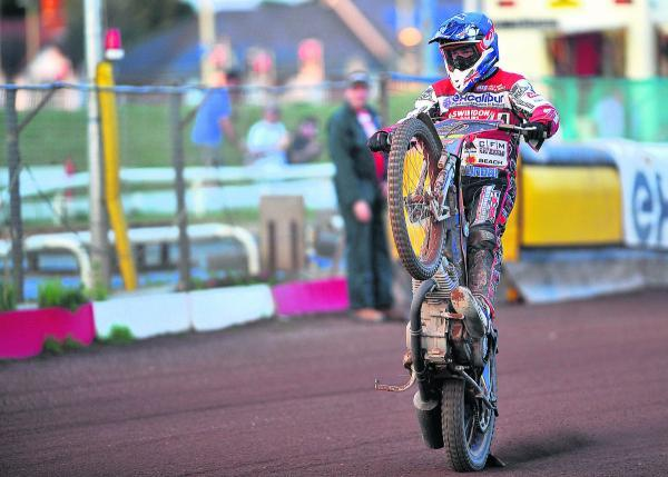 This Is Wiltshire: Nick Morris takes the acclaim after helping Swindon to a 5-1 in heat eight last night