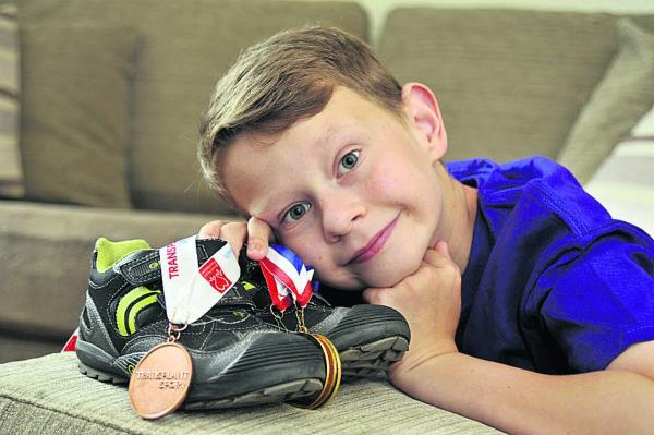 This Is Wiltshire: Tyler Wood, 11, of Westbury is hoping to repeat last year's medal success when he takes part in the Transplant Games in Bolton for the Great Ormond Street Hospital team