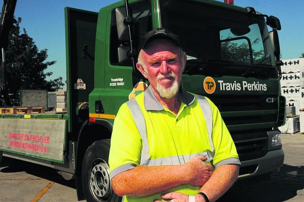 This Is Wiltshire: Trevor Hanney who has clocked up 40 years service with the Bradford Road builders merchants (TP 50137). Photo: Trevor Porte