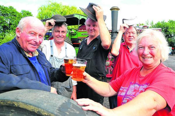 This Is Wiltshire: From left, Mike Woodroffe, Colin Hatch, Peter Tye, John Pile and Val Drinkwater at Swindon  and Cricklade Railway's vintage and real ale event