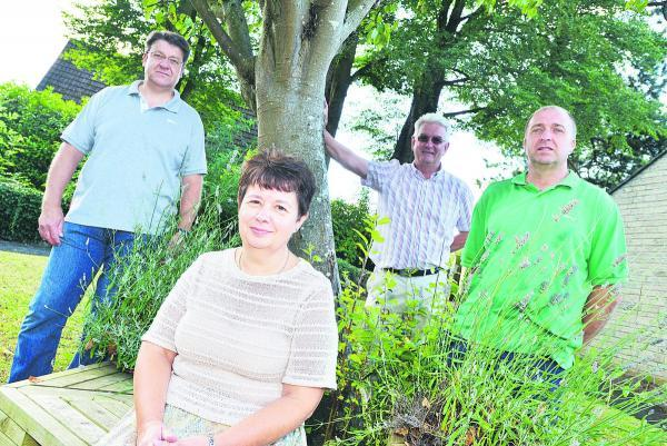 This Is Wiltshire: Mark Jones, Ian Jankinson, Rachel Smith and Paul Schofield, of Blunsdon, which has won the Wiltshire Best Kept Village Of The Year award