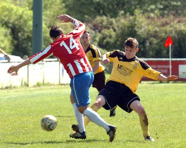 This Is Wiltshire: Jamie Broom (right) was on the scoresheet as Melksham Town beat Bridport on