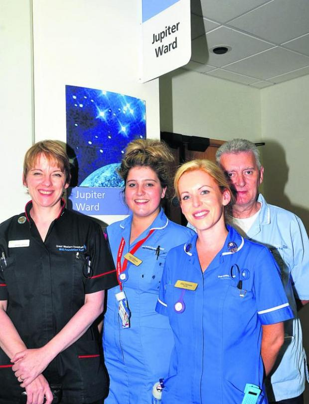 This Is Wiltshire: The Jupiter Ward at Great Western Hospital is being refurbished and adapted to the needs of dementia patients. Pictured, left to right, are Wendy Johnson, Annie Shilston, Zara Norman and David Browne