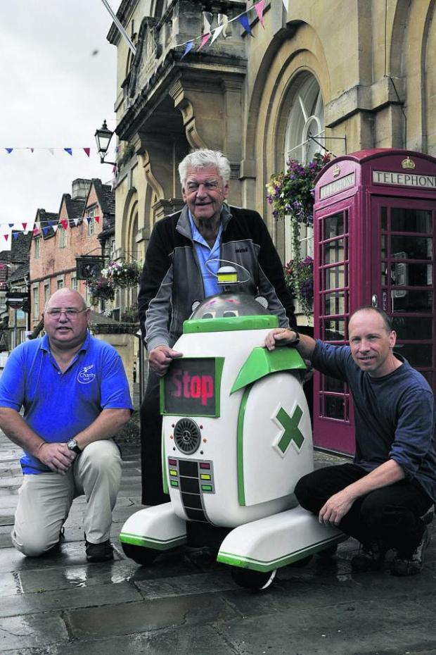 This Is Wiltshire: Dave Prowse with his restored Droid, Ady Davies and Mark Enright, right
