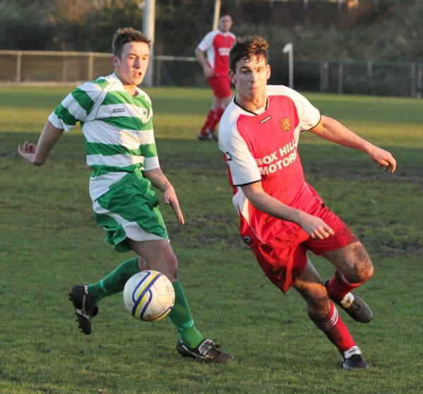 This Is Wiltshire: Nick Holton (right) scored in Corsham Town's opening day win at Oldland Abbotonians