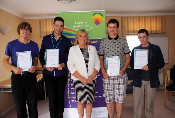This Is Wiltshire: Wiltshire Council leader Jane Scott with trainees James Bailey, left, Joshua Barton, William Bridger and Connor Devlin