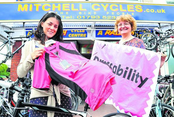 This Is Wiltshire: Laura Chadwick with Janice Mitchell of Mitchells Cycles which offered her a Kona Jersey worth £65 to wear during her cycle challenge