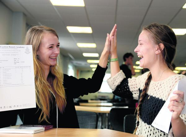 This Is Wiltshire: From left, Anastazja Stanowska and Antalia Stanowska celebrate their A-level results at Wootton Bassett Academy last year