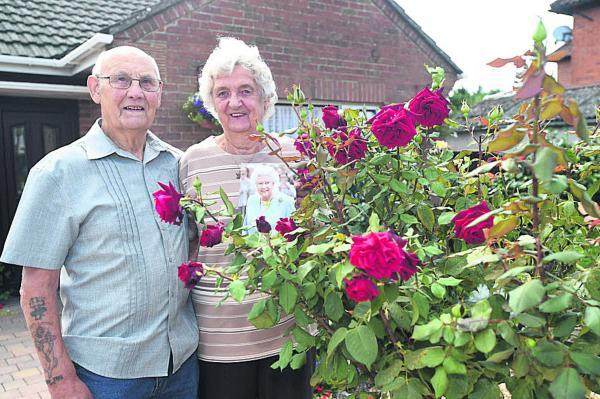 This Is Wiltshire: Gwen and Bob Squire in their prize-winning garden       (DV1519)