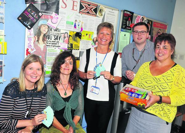 This Is Wiltshire: Laura Hill, Nicole Batt, Claire Watts, Darren Pearson and Sarah Clinton, of GWH's Sexual Health Team