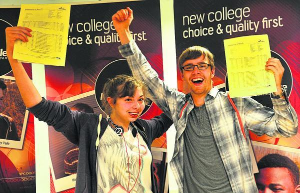This Is Wiltshire: Claire Blakman and Harry Jones start the celebrations. Harry is off to Cambridge University to study natural sciences