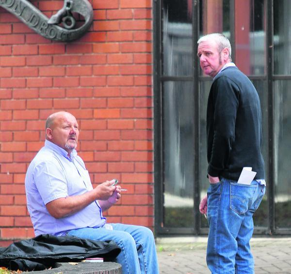 This Is Wiltshire: Andrew Bailey, left, and Michael Brennan outside Swindon Crown Court yesterday