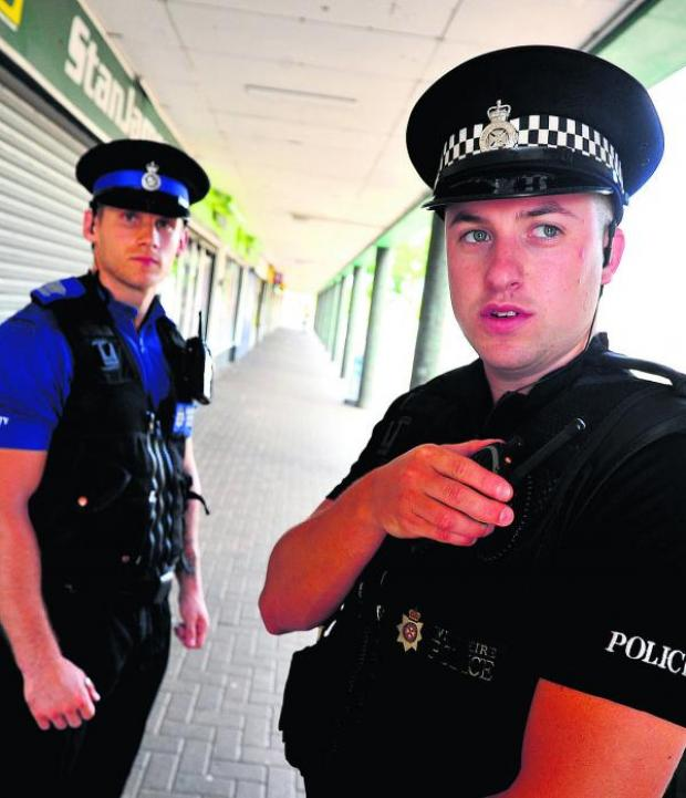 This Is Wiltshire: Alex Pawlowski and Dan Ashfield policing the dispersal order in Sussex Square