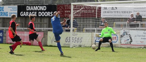This Is Wiltshire: Alan Griffin fires home Chippenham Town's second on Saturday (Picture by Robin Foster)