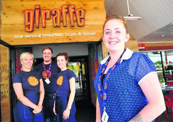This Is Wiltshire: New restaurant Giraffe is opening at Tesco in Ocotal way. Pictured, left to right, are Beth Mansfield, Chris Ody, Emily Robins and general manager Georgina Earp