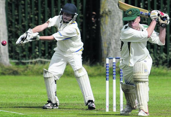 This Is Wiltshire: Beehive (Southwick) batsman James Hall and Potterne 3rd wicketkeeper George Elliott during their Division Three clash