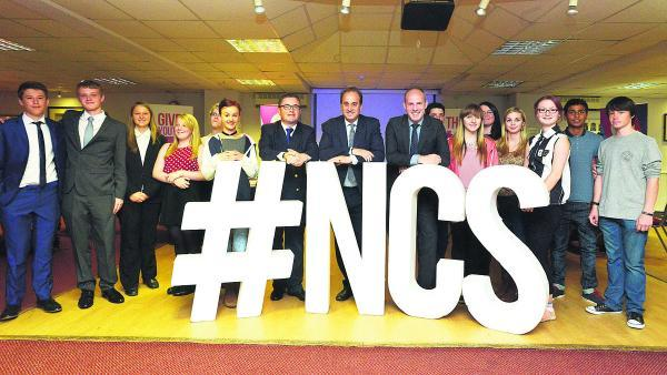 This Is Wiltshire: MP Robert Buckland, Brooks Newmark, the Minister for Civil Society, and MP Justin Tomlinson with NCS students