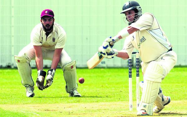 This Is Wiltshire: Burbage & Easton Royal's Michael Papps in batting action during his side's win over Devizes