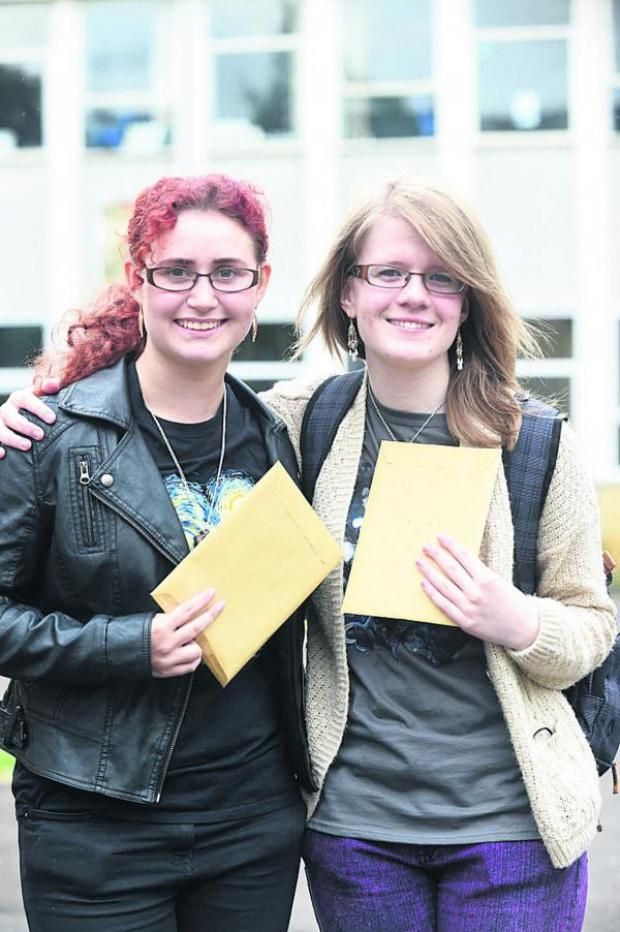 This Is Wiltshire: Emma Simonsen and fellow student Rebecca Daniels after receiving their A-level results. Picture by Diane Vose