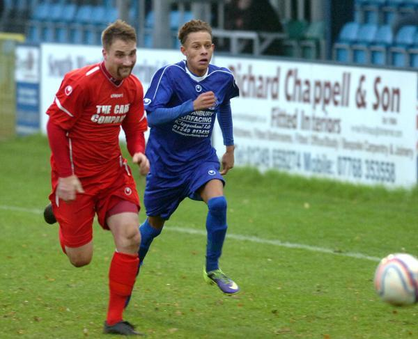 This Is Wiltshire: Ryan Campbell (right) got the winning goal in Chippenham Park's 6-5 win at Dorchester Town last night
