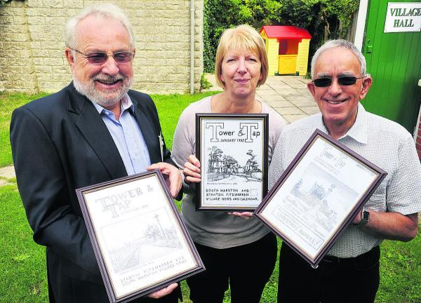 This Is Wiltshire: From left, parish councillor Barry Thunder, Tower And Tap's past editor Kay Long and regular contributor Brian McGlone
