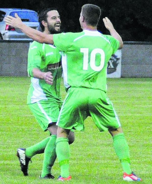 This Is Wiltshire: Westbury United's Simon Millard (10) celebrates the second of his four goals against Keynsh
