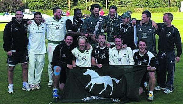 This Is Wiltshire: Wiltshire celebrate becoming Unicorns Championship Western Division champions (Picture: Jon Williams)
