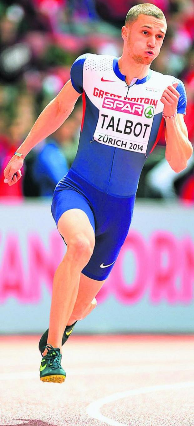 This Is Wiltshire: Danny Talbot competes in the 200m heats at the European Championships in Zurich last week