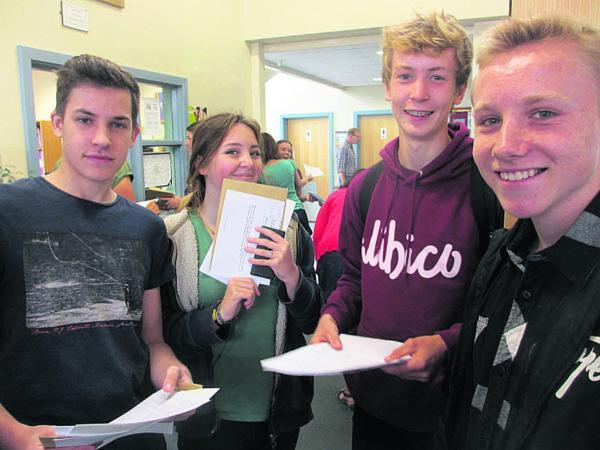 This Is Wiltshire: Aleks Pogorzelski, Madison Witcombe, Ben Mortimer, Nathan Mowat at Sheldon School today