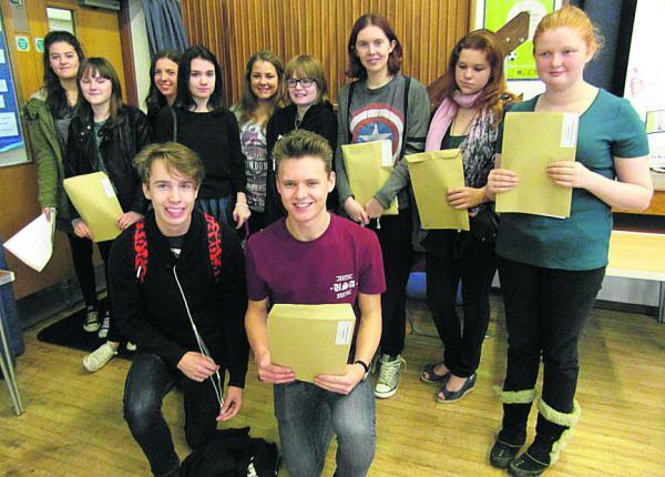 This Is Wiltshire: John of Gaunt School pupils with their GCSE results today