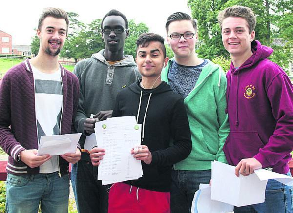 This Is Wiltshire: Hardenhuish School pupils Callum Ames, Kenneth Muhumuza, Firat Guloglu, Louis Smith and Ross Clifton