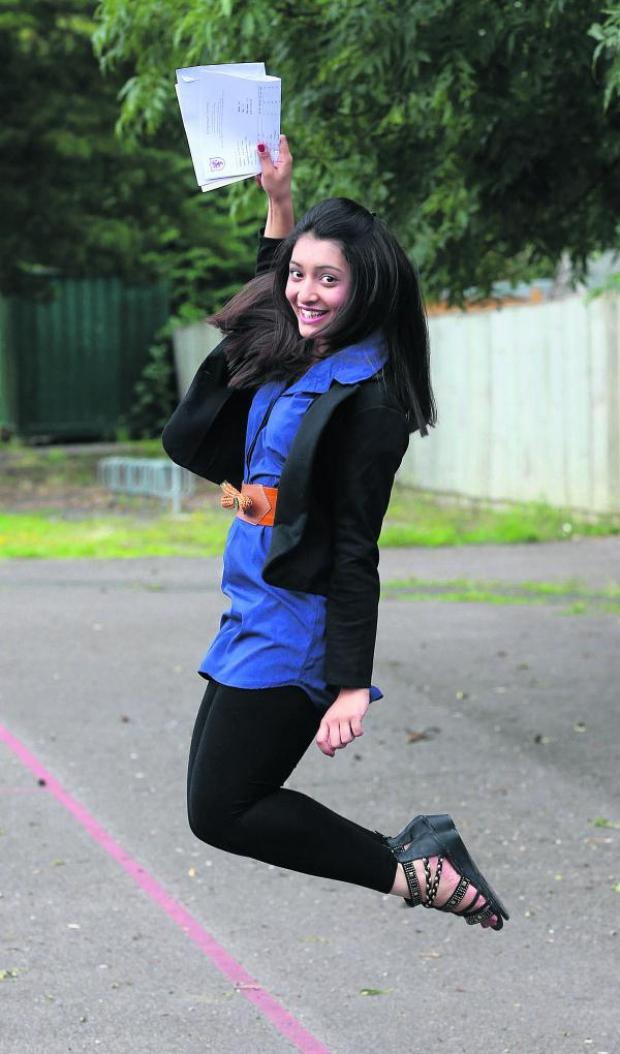 This Is Wiltshire: Kamya Gupil leaps into action on receiving her results