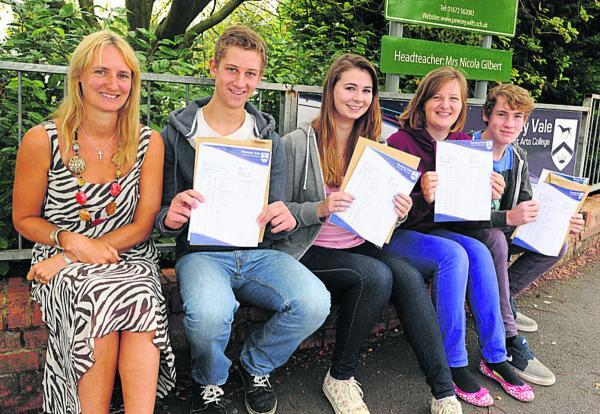 This Is Wiltshire: Pewsey Vale School headteacher Carol Grant with James Marshall (3A*, 5As, 2Bs), Chloe Howe (6As, 1B), Jess Ward (6As, 1B) and Ryan Hughes (6As 1B). Picture by Paul Morris