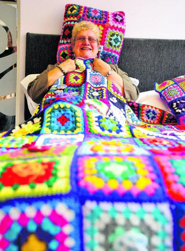 This Is Wiltshire: Jane Young has knitted a blanket to raise money for Help for Heroes