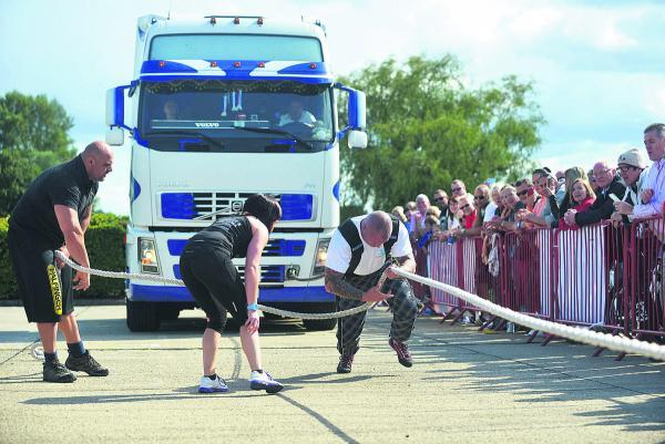 This Is Wiltshire: Don Bryden pulling a 10 tonne truck to raise money for an anti-rhino poaching charity