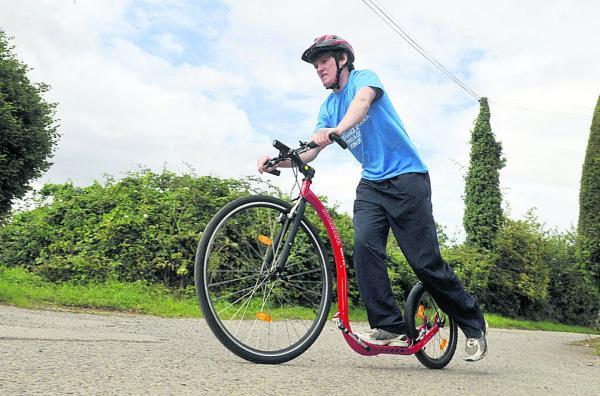 This Is Wiltshire: Ed Dyke puts in some training for his 230-mile ride. Picture by Siobhan Boyle
